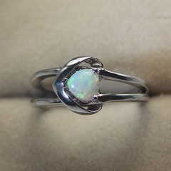 Stunning! Silver Ring Solid Natural White Opal from Coober Pedy Australia
