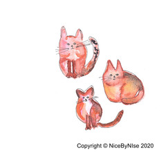 3 Cats - Blank Card  - or personalised!