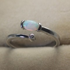 Stunning! Silver Ring Natural White Opal from Coober Pedy Australia