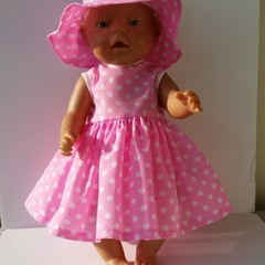 Dress and Hat set for Baby Born doll
