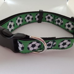 Green soccer ball adjustable dog collars medium / larger