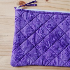 Purple quilted iPad case / pouch