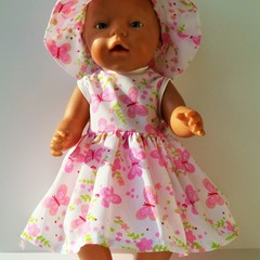 Baby Born Doll Dress and Hat Set