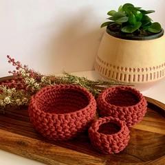 Set of 3 wild rose crochet nesting baskets