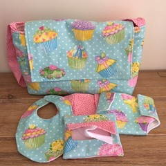 Dolls Nappy bag set, Cupakes print, girls gift,