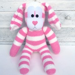 'Brianna' the Sock Bunny - pink & white - *READY TO POST*