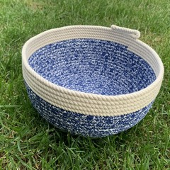 Rope Basket - with Royal Blue Paisley Fabric