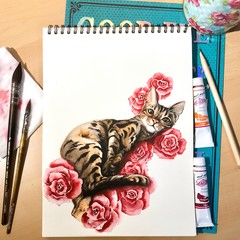 Custom pet portrait in water colour from your photo with flowers/Roses. Great do