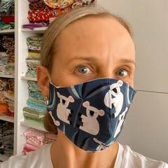 Cotton Face Mask ~ Blue Koala   - 3 layers
