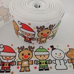 """2"""" wide Christmas snowman reindeer Santa print grosgrain ribbon"""