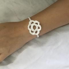 White Crocheted  Flower Bracelet