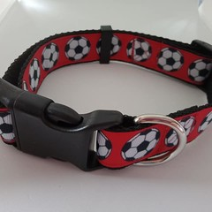 Red soccer ball print adjustable dog collars medium / large