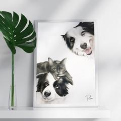 Pet Portrait PEEKABOO from your photo. Personalized Pet Portrait.Custom pet port