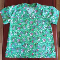 "Christmas Scrub Top  ""dogs"""