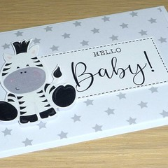New baby cards - unisex - Baby safari animals - zebra - giraffe - tiger