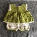 Green and white summer crochet outfit