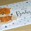 New baby cards - unisex - Baby safari animals - zebra - giraffe - tiger