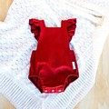 Girls Christmas Outfit - Red Linen Baby Romper