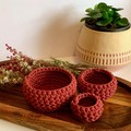 Set of 3 Wild Rose crochet nesting baskets