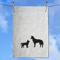 Kelpie Cattle Dog and Pup Hand Screen Printed Pure Linen Tea Towel Free Shipping