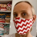 Cotton Face Mask ~ Christmas Red & White Chevron~ 3 layers