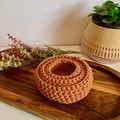 Set of 3 Golden Terracotta crochet nesting baskets