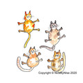 4 Cats - Blank Card  - or personalised!