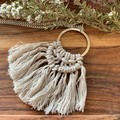Macrame natural beige necklace gift for her