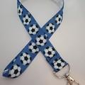 Blue soccer ball lanyard / ID holder / badge holder