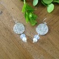 Recycled Silver,  semi precious beads and pearl earrings