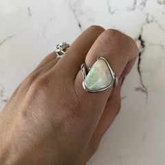 Stunning! Big Piece Ring Solid Natural White Opal from Coober Pedy Australia