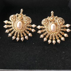 Unique Vintage Pearl Earrings For Women Ear Clip Art Deco Gift for Mum