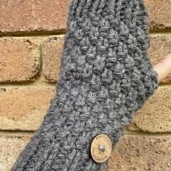 Grey fingerless gloves texting gloves Handwarmers men ladies unisex