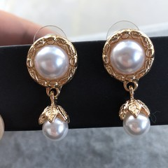 Unique Vintage Pearl Earrings For Women Handmade Art Deco Gift for Mum Her