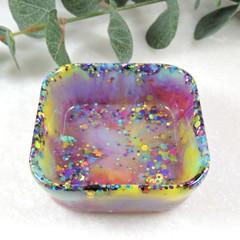 Rainbow trinket dish - square