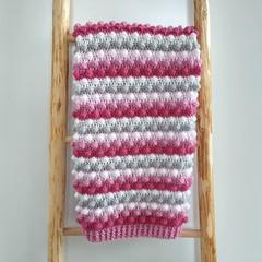 Pinks, Cream & Grey Handmade Crocheted Bobble Newborn Baby Blanket