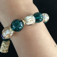 Vintage Liuli Crystal Glass Art Bracelet For Women Aesthetic Gift Mum