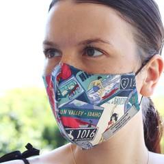 Face mask, adjustable straps, 3 layers,100% cotton, unisex