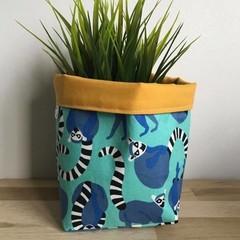 Small fabric planter | Storage basket | Pot cover | AQUA LEMUR