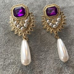 Unique Vintage Pearl Earrings For Women Art Deco Gift for Mum Her