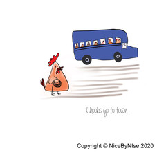 Chooks Go to Town - Blank Card  - or personalised!