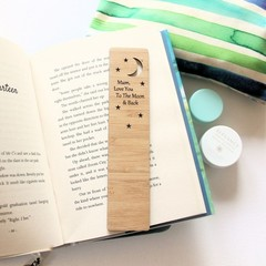 Bookmark Personalised Gift, Moon & Back, Custom Made Bamboo Bookmark, Book Lover