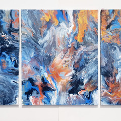 """Celestial Skies"" Triptych Trio Set 40.6 x 50.8cm each (16x20"") Wall Art"