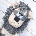 'Linton' the Sock Lion - beige, dark grey & light grey argyle- *MADE TO ORDER*
