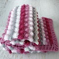 Pinks, Cream & Grey Handmade Crocheted Bobble Newborn Baby Blanket
