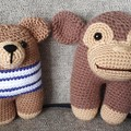 Crochet Monkey & Teddy Bear Twin Pack - Soft Toys