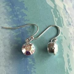 8mm Round Aurora Borealis Swarovski® Crystal earrings - Hooks