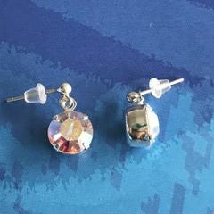 8mm Round Aurora Borealis Swarovski® Crystal earrings - stud