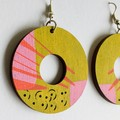 Hand Painted Chartreuse Pink Yellow Statement Geometric Earrings