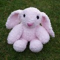 Bunny soft toy. Hand knitted, cuddly, floppy eared, pink  softie.